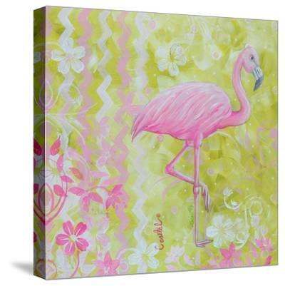Green and Pink Flowers Flamingo Bird-Megan Aroon Duncanson-Stretched Canvas Print