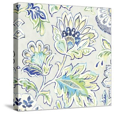 Ceylon Gardens V Indigo-Wild Apple Portfolio-Stretched Canvas Print