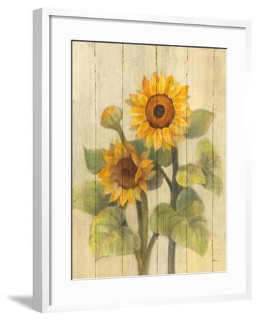 Summer Sunflowers II on Barnboard-Albena Hristova-Framed Art Print