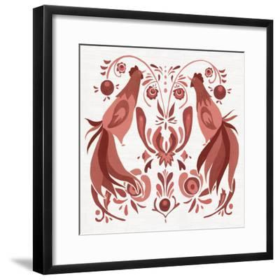 Americana Roosters III Red-Wild Apple Portfolio-Framed Art Print
