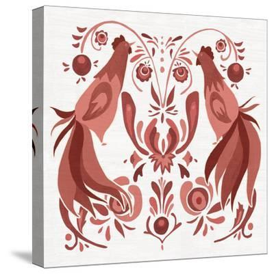 Americana Roosters III Red-Wild Apple Portfolio-Stretched Canvas Print