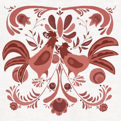 Americana Roosters II Red-Wild Apple Portfolio-Framed Art Print