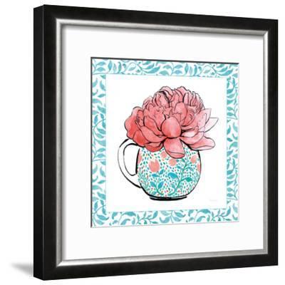 Floral Teacup I Vine Border-Beth Grove-Framed Art Print