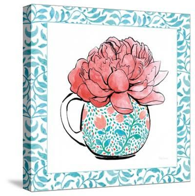 Floral Teacup I Vine Border-Beth Grove-Stretched Canvas Print