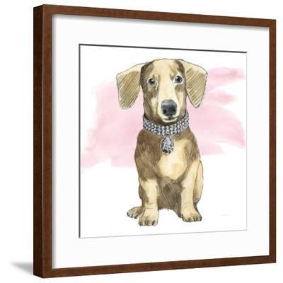 Glamour Pups IX on Pink-Beth Grove-Framed Art Print