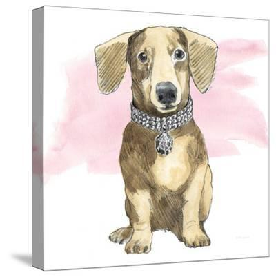 Glamour Pups IX on Pink-Beth Grove-Stretched Canvas Print
