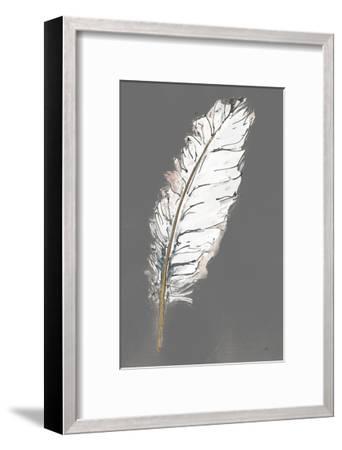 Gold Feathers VII on Grey-Chris Paschke-Framed Art Print