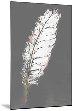 Gold Feathers VII on Grey-Chris Paschke-Mounted Art Print