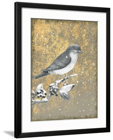Winter Birds Bluebird Neutral-Beth Grove-Framed Art Print