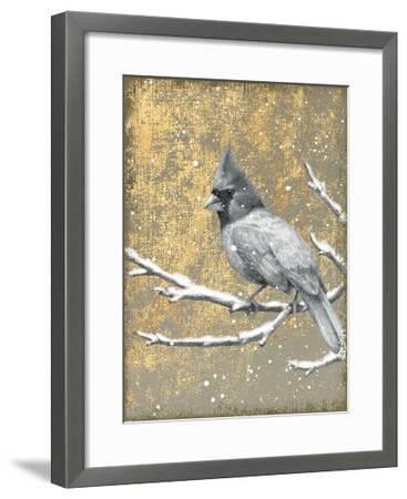 Winter Birds Cardinal Neutral-Beth Grove-Framed Art Print