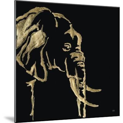 Gilded Elephant on Black-Chris Paschke-Mounted Art Print