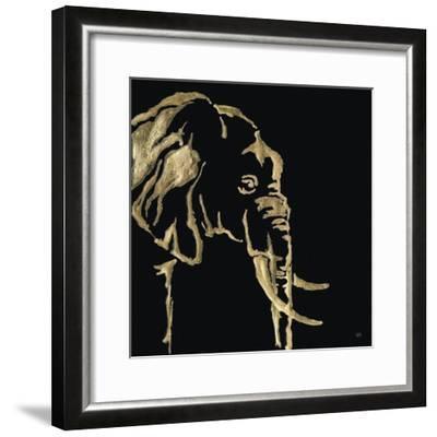 Gilded Elephant on Black-Chris Paschke-Framed Art Print