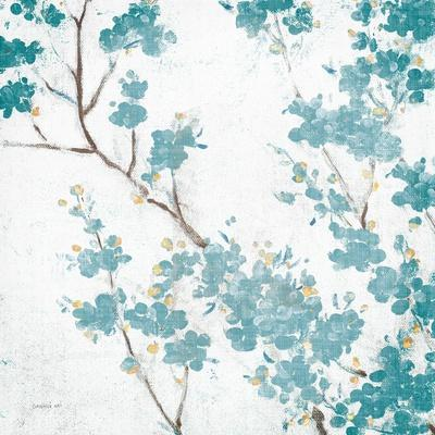 Teal Cherry Blossoms II on Cream Aged no Bird-Danhui Nai-Framed Art Print