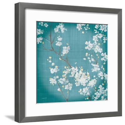 White Cherry Blossoms II on Teal Aged no Bird-Danhui Nai-Framed Art Print