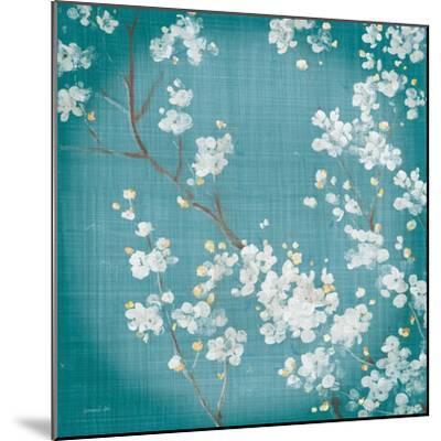 White Cherry Blossoms II on Teal Aged no Bird-Danhui Nai-Mounted Art Print