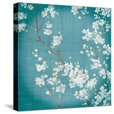 White Cherry Blossoms II on Teal Aged no Bird-Danhui Nai-Stretched Canvas Print
