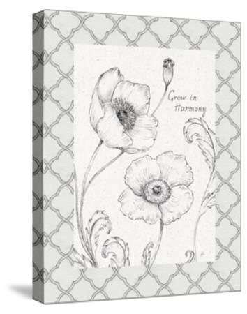 Blossom Sketches Words I Border-Daphne Brissonnet-Stretched Canvas Print