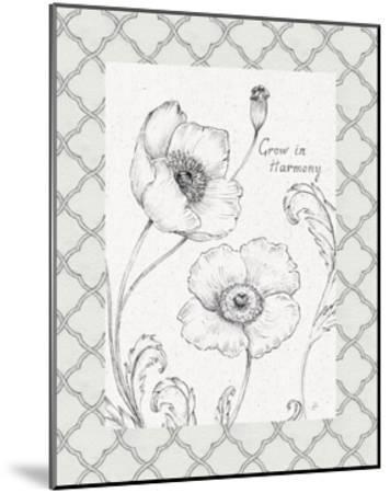 Blossom Sketches Words I Border-Daphne Brissonnet-Mounted Art Print
