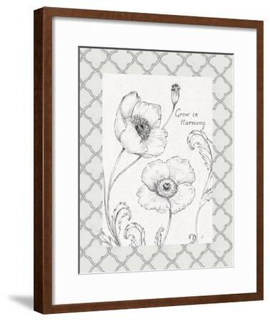 Blossom Sketches Words I Border-Daphne Brissonnet-Framed Art Print