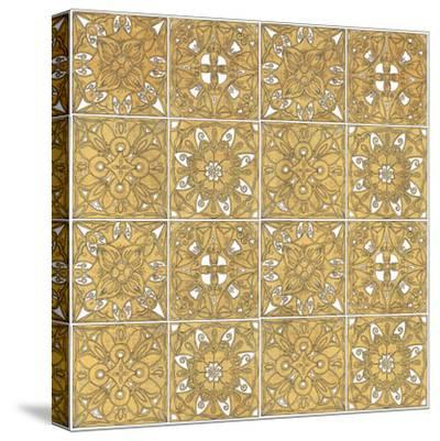 Color my World Mexican Tiles Pattern Gold-Daphne Brissonnet-Stretched Canvas Print