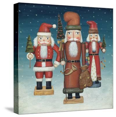 Santa Nutcrackers Snow-David Cater Brown-Stretched Canvas Print