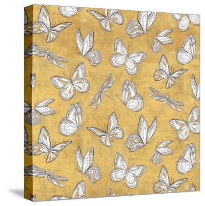 Color my World Butterfly Pattern Gold-Daphne Brissonnet-Stretched Canvas Print