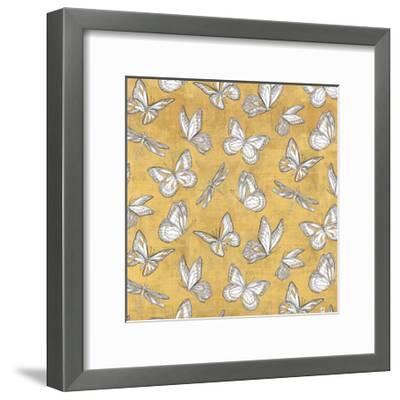 Color my World Butterfly Pattern Gold-Daphne Brissonnet-Framed Art Print