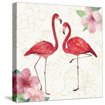 Tropical Fun Bird IV with Gold-Harriet Sussman-Stretched Canvas Print