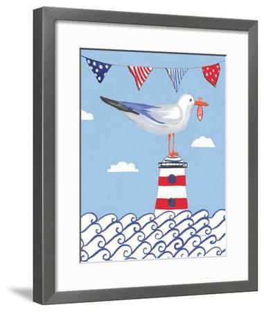 Coastal Bird I Flags on Blue-Farida Zaman-Framed Art Print