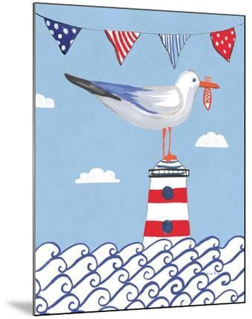Coastal Bird I Flags on Blue-Farida Zaman-Mounted Art Print