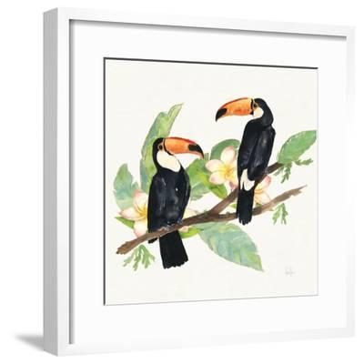 Tropical Fun Bird I Leaves-Harriet Sussman-Framed Art Print