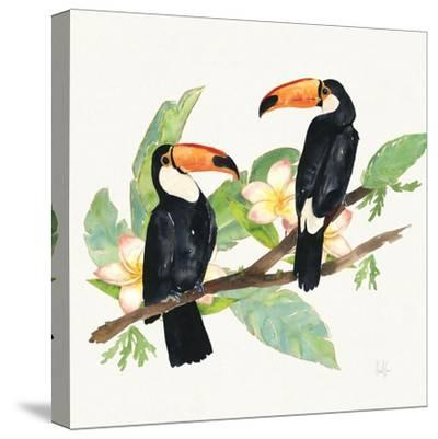 Tropical Fun Bird I Leaves-Harriet Sussman-Stretched Canvas Print