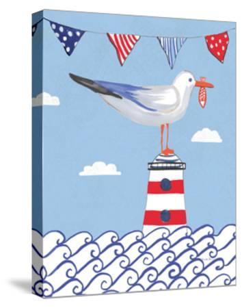 Coastal Bird I Flags on Blue-Farida Zaman-Stretched Canvas Print