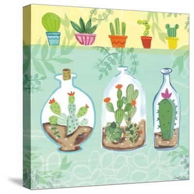 Cacti Garden I no Birds and Butterflies-Farida Zaman-Stretched Canvas Print
