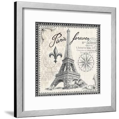Bonjour Paris III Dark-Janelle Penner-Framed Art Print