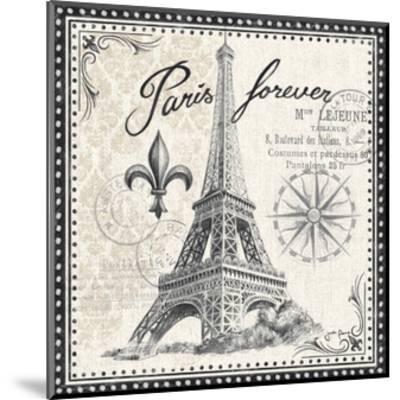Bonjour Paris III Dark-Janelle Penner-Mounted Art Print