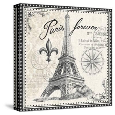 Bonjour Paris III Dark-Janelle Penner-Stretched Canvas Print