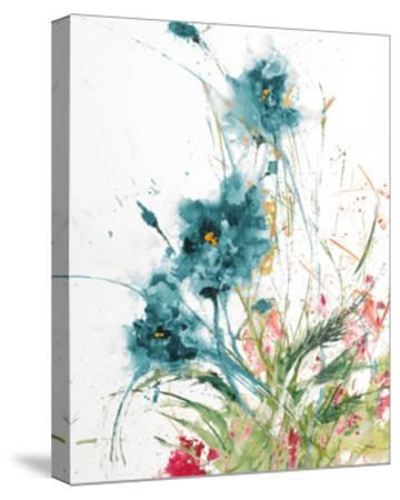 Flora Blue Crop on White-Jan Griggs-Stretched Canvas Print