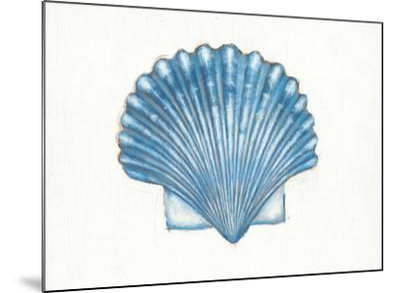 Navy Scallop Shell-Emily Adams-Mounted Art Print