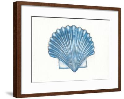 Navy Scallop Shell-Emily Adams-Framed Art Print