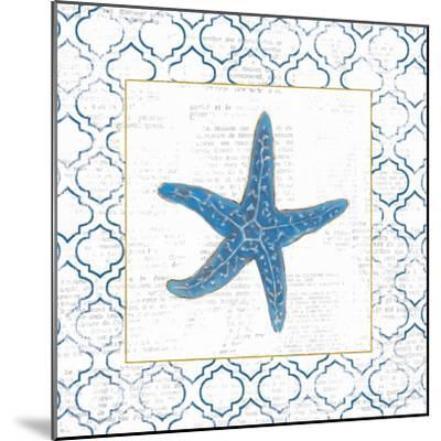 Navy Starfish on Newsprint with Gold-Emily Adams-Mounted Art Print