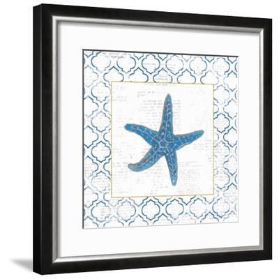Navy Starfish on Newsprint with Gold-Emily Adams-Framed Art Print