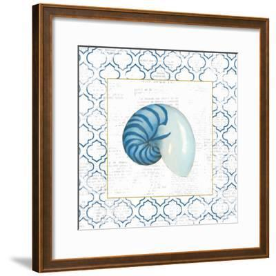 Navy Nautilus Shell on Newsprint with Gold-Emily Adams-Framed Art Print