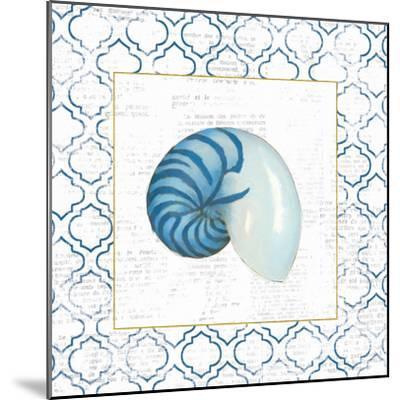 Navy Nautilus Shell on Newsprint with Gold-Emily Adams-Mounted Art Print