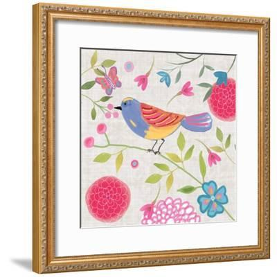Damask Floral and Bird III-Farida Zaman-Framed Art Print