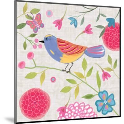 Damask Floral and Bird III-Farida Zaman-Mounted Art Print