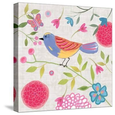 Damask Floral and Bird III-Farida Zaman-Stretched Canvas Print