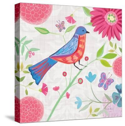 Damask Floral and Bird II-Farida Zaman-Stretched Canvas Print