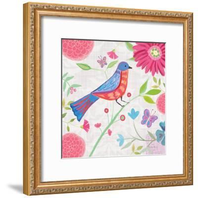 Damask Floral and Bird II-Farida Zaman-Framed Art Print