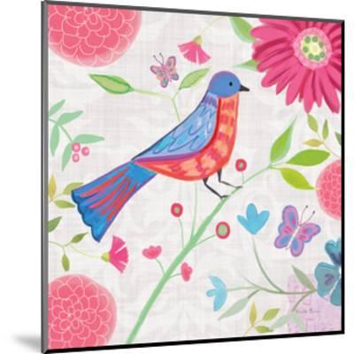 Damask Floral and Bird II-Farida Zaman-Mounted Art Print
